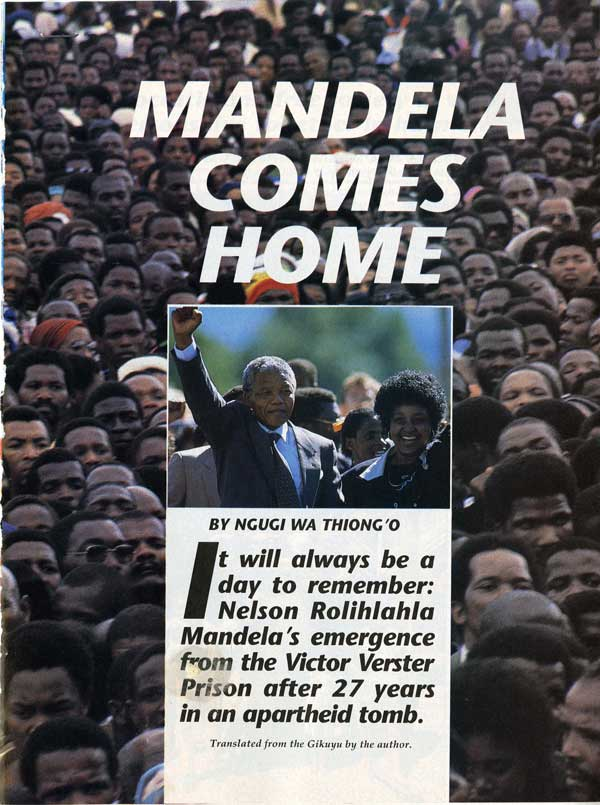 """Mandela Comes Home,"" Time Magazine, Feb. 1990, Leroy T. Walker Africa News Service Archive"