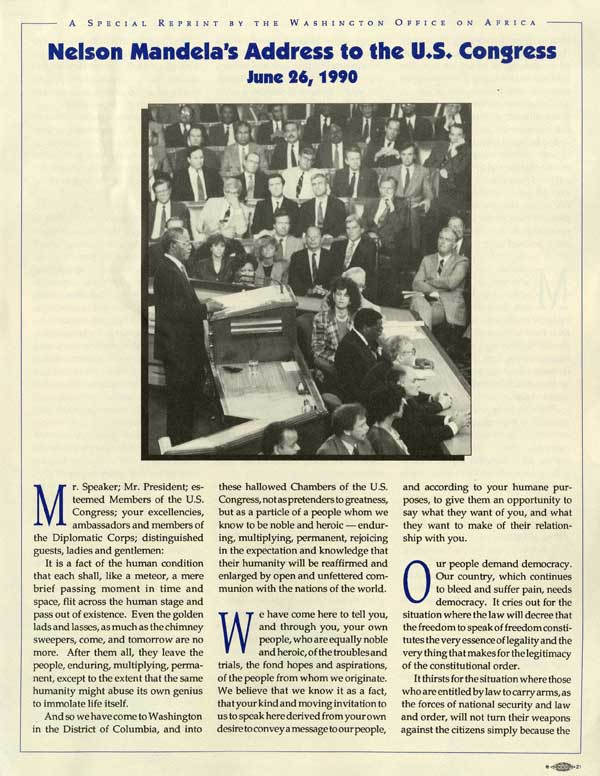 """Nelson Mandela's Address to the US Congress,"" article June 1990, Leroy T. Walker Africa News Service Archive"