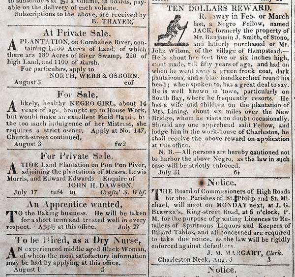 Advertisements including a young girl for sale and a runaway slave