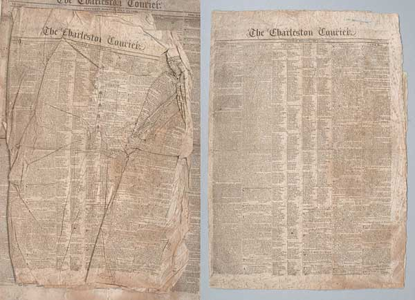 Newspapers before and after treatment