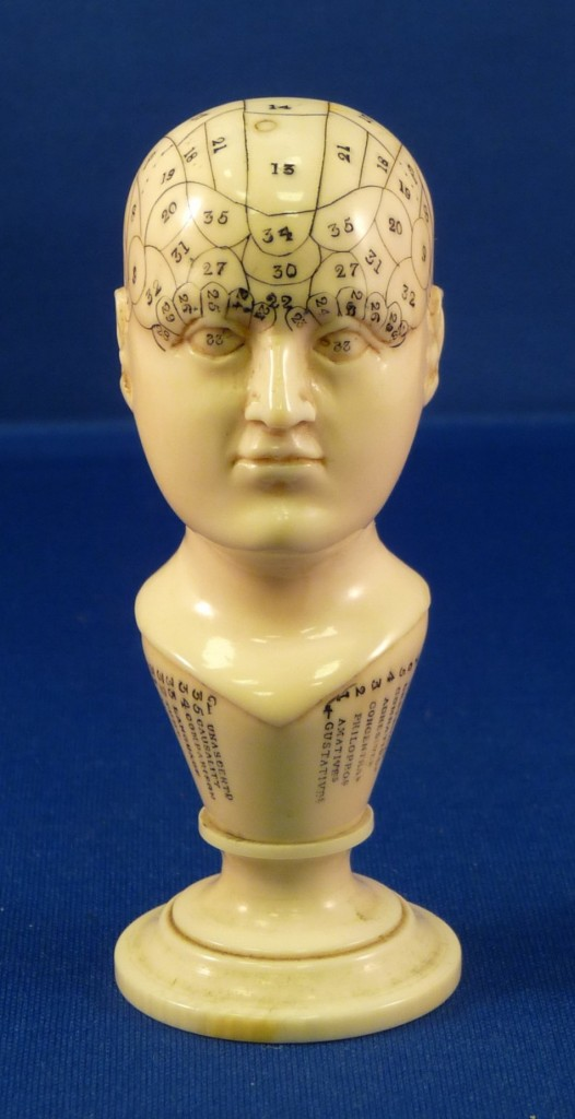 Courtney Thompson will use materials related to phrenology such as this small ivory bust in her research.