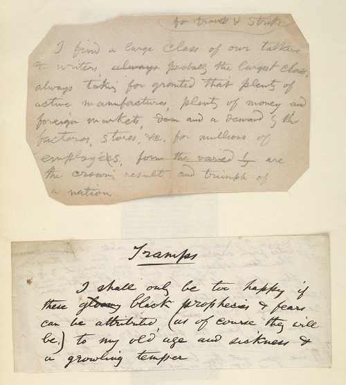 "Two prose fragments from ""Excerpts &c Strike & Tramp Question,"" Trent Collection of Whitmaniana Box II-7B."