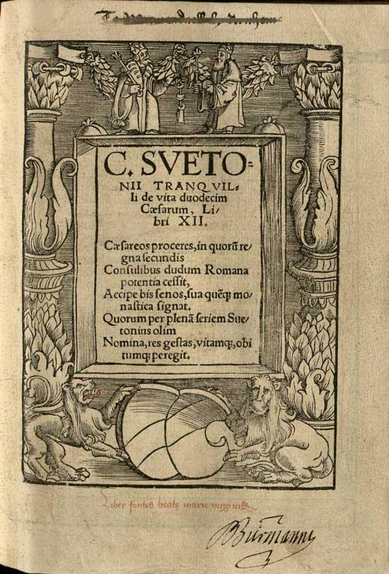 Title page of De Vita Duodecim Caesarum Libri XII