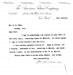 1894 letter from Benjamin N. Duke papers
