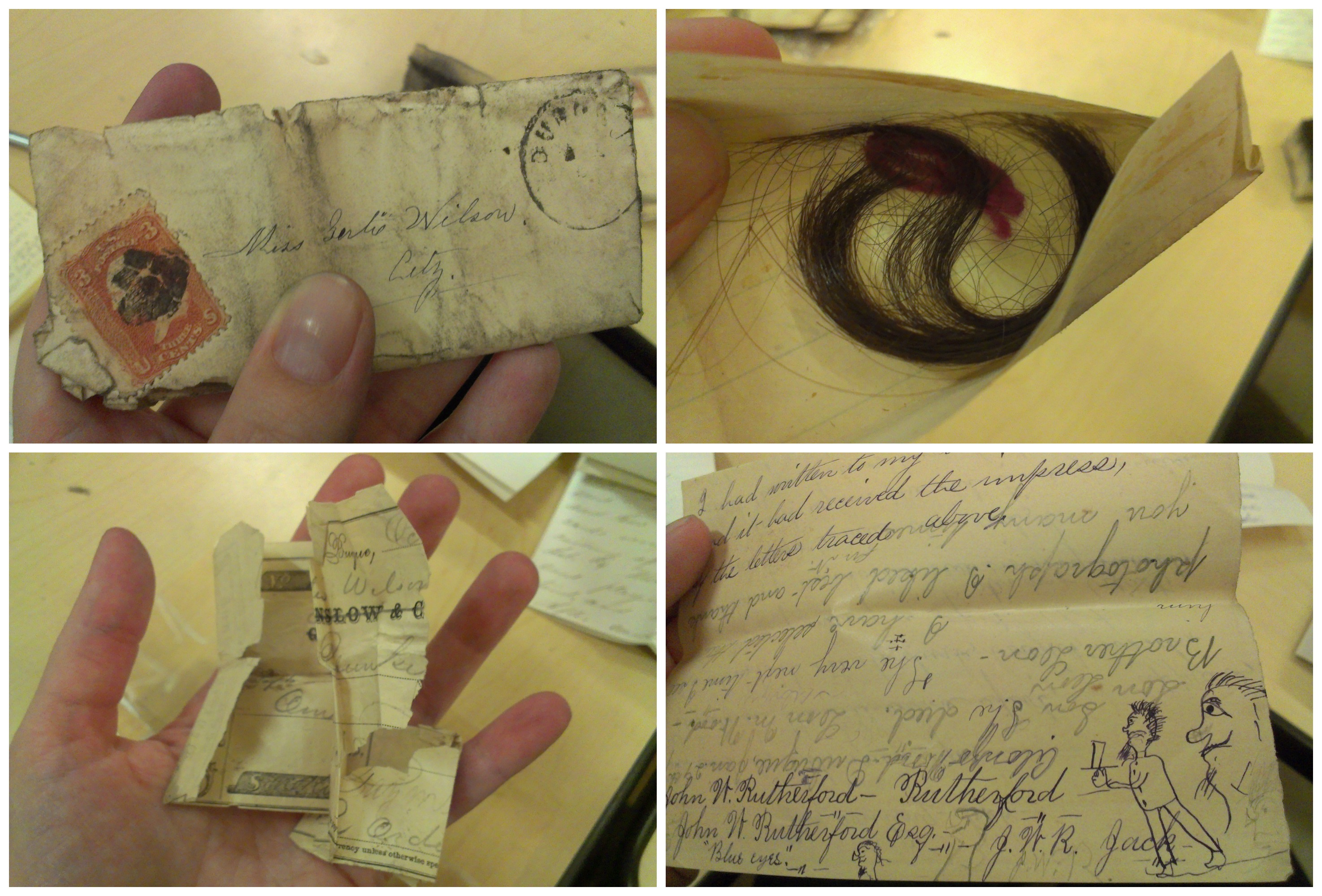Tiny letters for Gertie from her fellas; a lock of Gertie's hair returned after a break-up; crumpled up love-note; Gertie's doodles of a former suitor's name