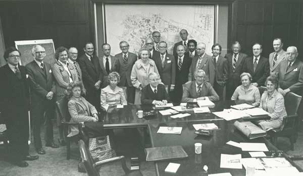 Duke University Board of Trustees, 1977. Mrs. Drill is seated second from the left. From the University Archives Photograph Collection.