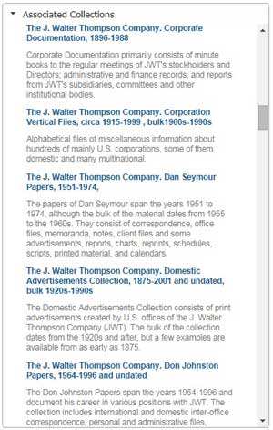 Screen capture of Associated Collections feature