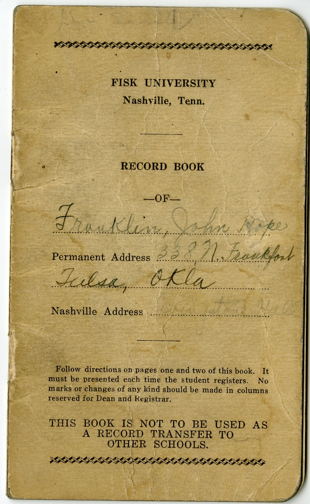 John Hope Franklin's grade book at Fisk University, 1933