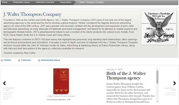 Screen capture of the J. Walter Thompson timeline.