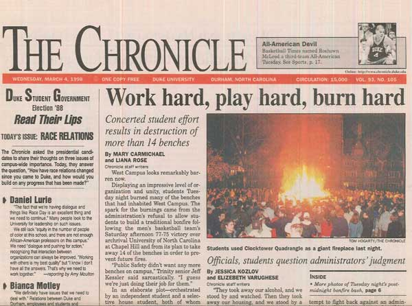 Front page of the Chronicle, March  4, 1998.