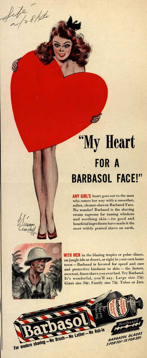 Barbasol advetisement, 1944.