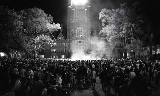 Bonfire after NCAA National Semifinal Men's Basketball Game, April 2-3, 1994. From the University Photography Visual Materials Collection.