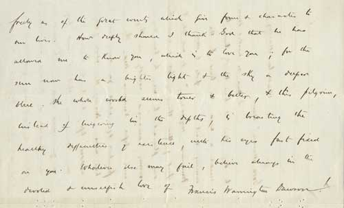Letter from Francis Warrington Dawson to Sarah Morgan, February 10, 1873. From the Dawson Family Papers.