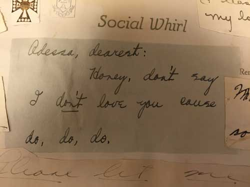 Note from Odessa Massey's scrapbook