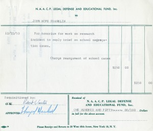 Pay invoice to John Hope Franklin for work on the Brown v. Board of Education, 1954