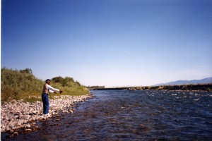 Franklin casting a line in Montana