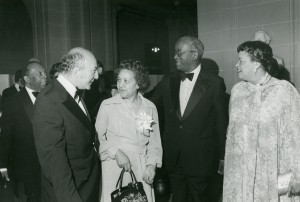 (l to r) Mayor Walter Washington, Berman, Aurelia and John Hope Franklin, and Mrs. Washington at the Washington DC reception of the Jefferson Lectures
