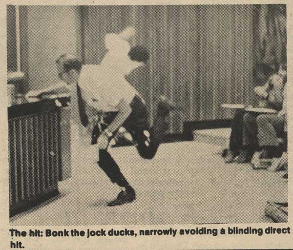 The Pie-Man's Attack. From the Chronicle, April 1, 1975.