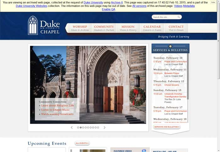 Duke University Chapel homepage, 2015