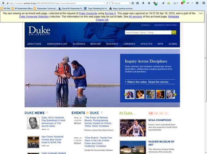 Duke University homepage, 2010
