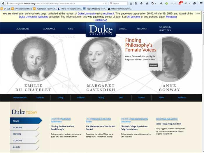 Duke University homepage, 2015