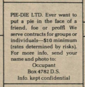 Pie-Die Advertisement, From the Chronicle, March 21, 1975.