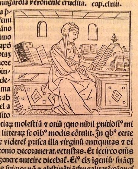 Isotta Nogarola, humanist, 1418-1466, from Jacopo Philippo Bergomensis' De Claris Mulieribus, 1497