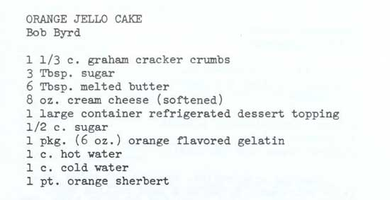 Recipe for Orange Jello Cake, part 1
