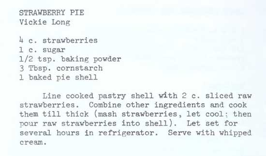 Recipe for Strawberry Pie