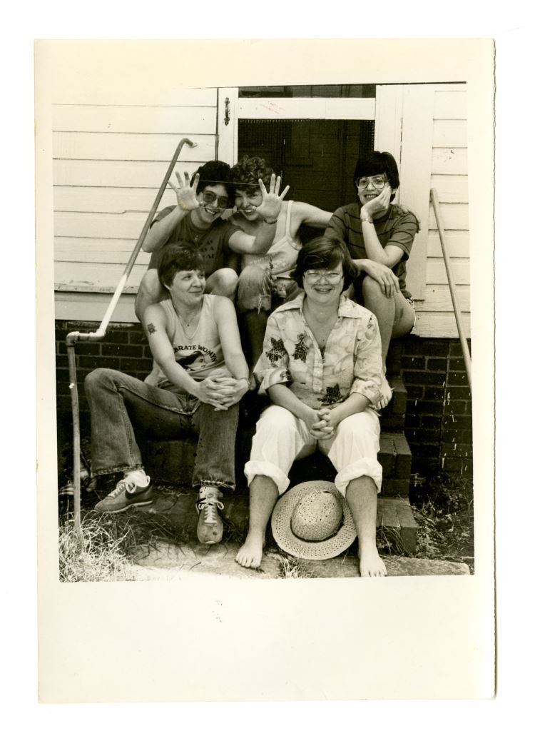 eminary collective (left to right, top to bottom row): Helen Langa, Minnie Bruce Pratt, Eleanor Holland, Cris South, and Mab Segrest. Photo by Elena Freedom, 1982. From the Minnie Bruce Pratt Papers.