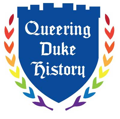 "Logo for ""Queering Duke History"" exhibit."