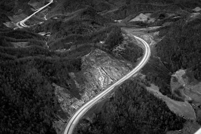 I-26 at Buckner Gap, Madison County, N.C. 2008. Copyright, Rob Amberg.