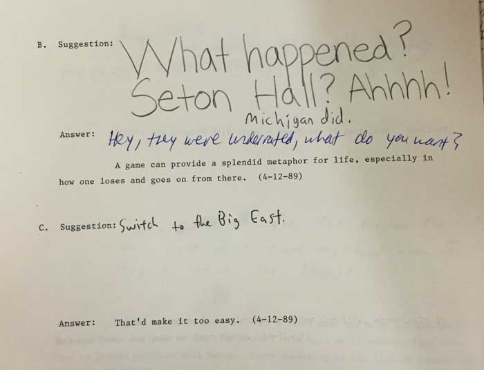 Library Answer Person: Seton Hall Upset