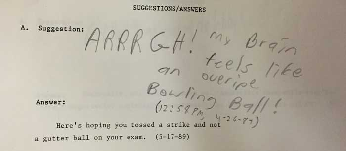 Library Answer Person: Exams are Hard