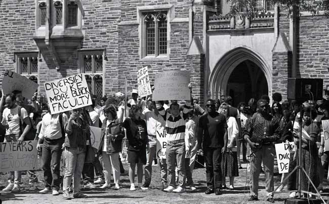 Students protest in favor of the Black Faculty Initiative, April 1988.