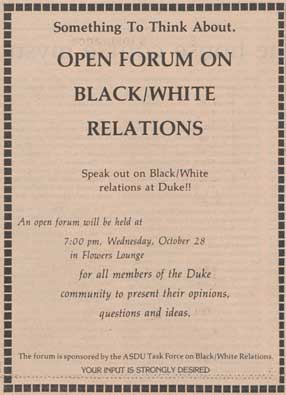 Ad for October 28, 1981 Open Forum on Black/White Relations. From the Duke Chronicle, October 27, 1981.