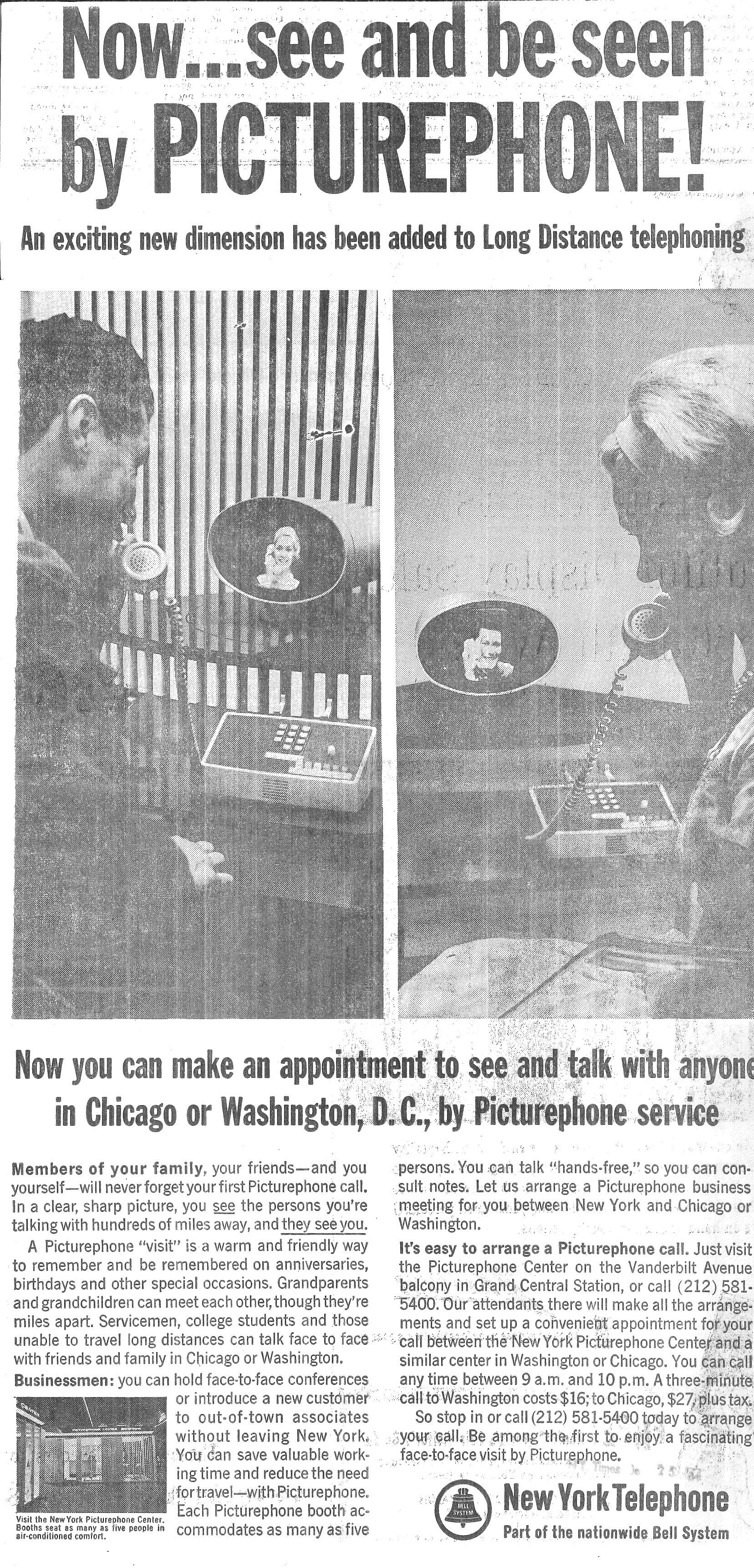 NY Telephone 1964 picturephone