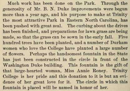 Excerpt about Anne Roney Fountain from the Trinity Archive
