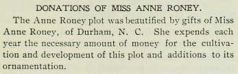 Reference to Anne Roney Plot in 1901-1902 Annual Catalogue