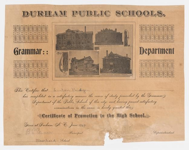 1908 certificate from Durham Public Schools showing photographs of the county's four graded schools.