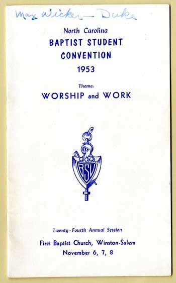 Cover of 1953 NC Baptist Student Union Convention program.