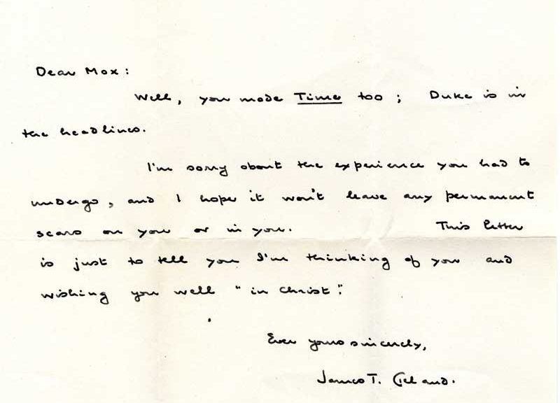 Letter from James T. Cleland to Max Wicker