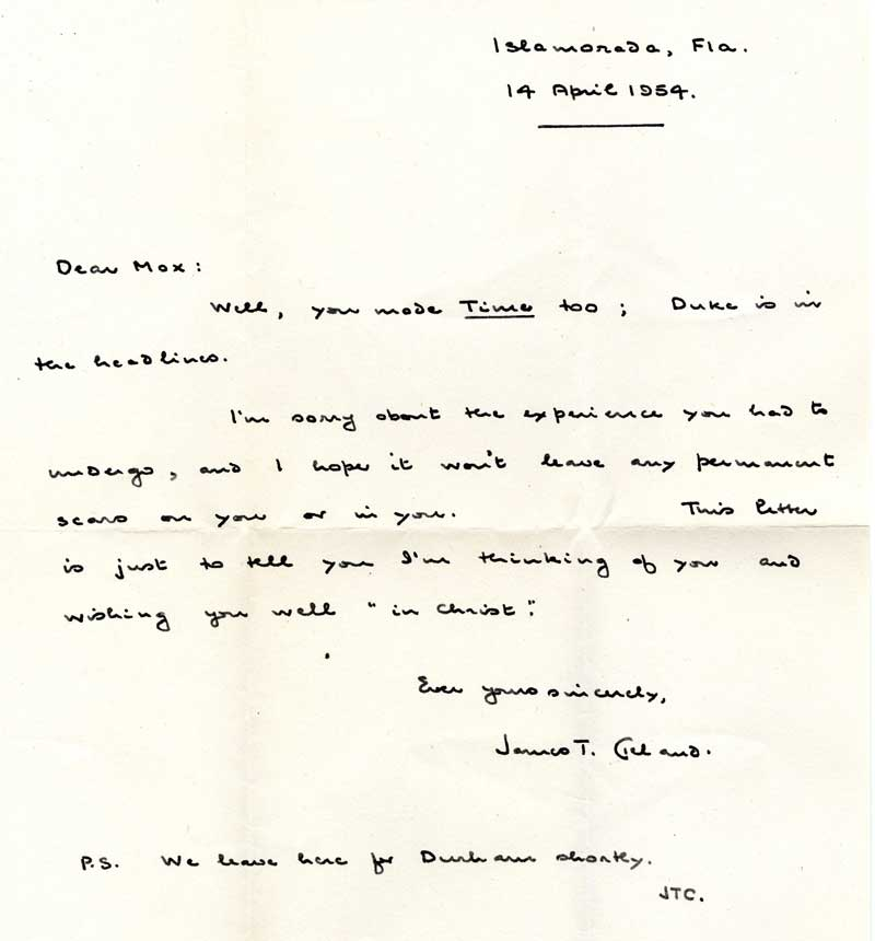 Letter from James T. Cleland to Max Wicker, April 14, 1954
