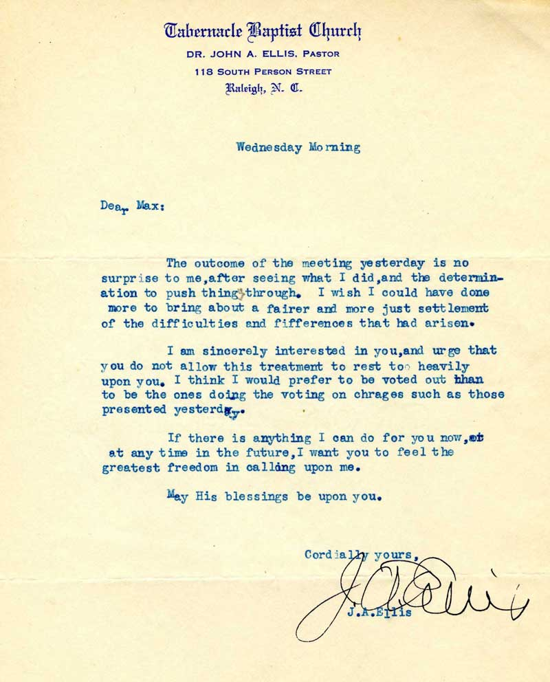 Letter from John A. Ellis to Max Wicker, March 31, 1954