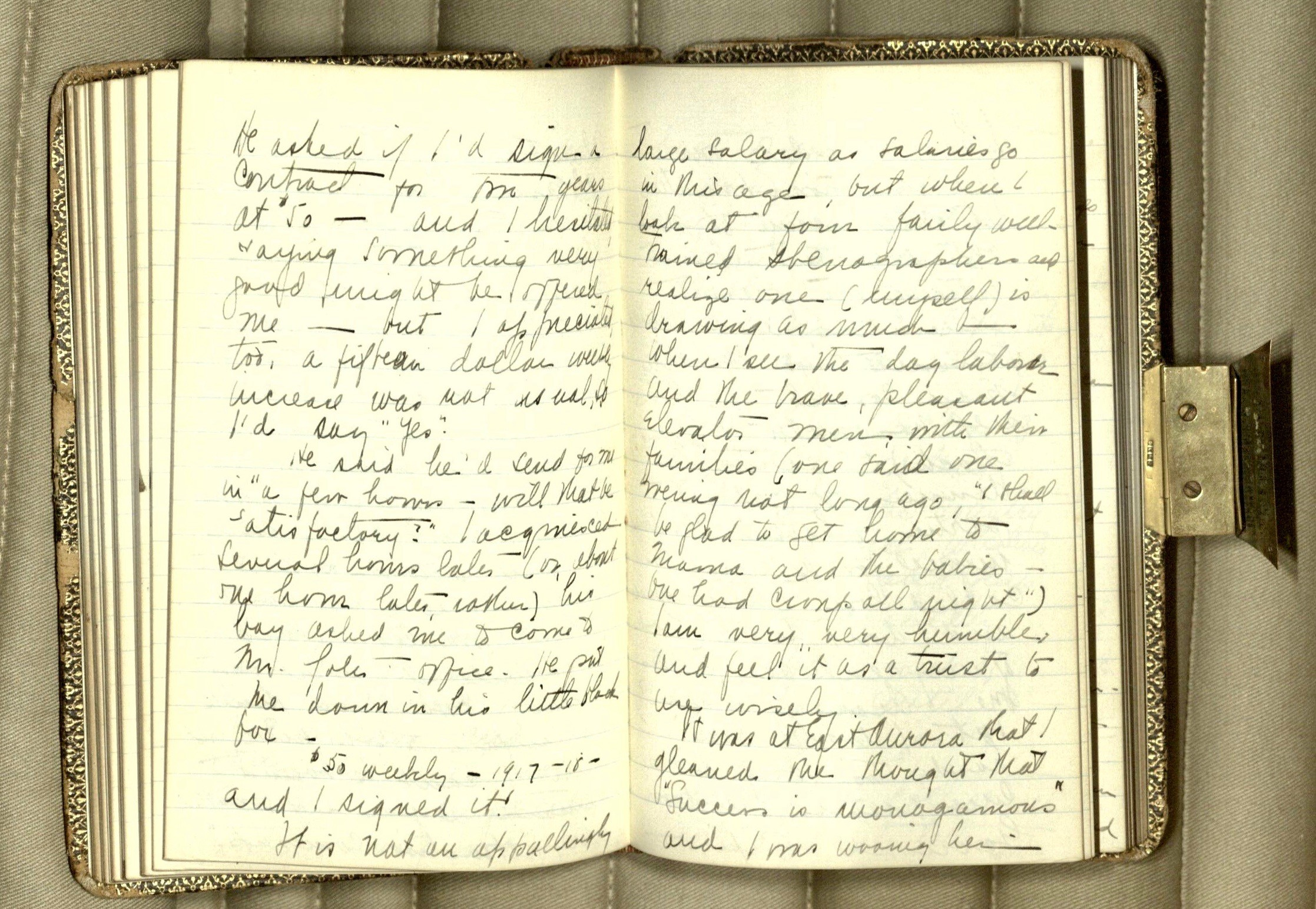 Photograph of two interior pages of Irene Sickel Sims's handwritten diary