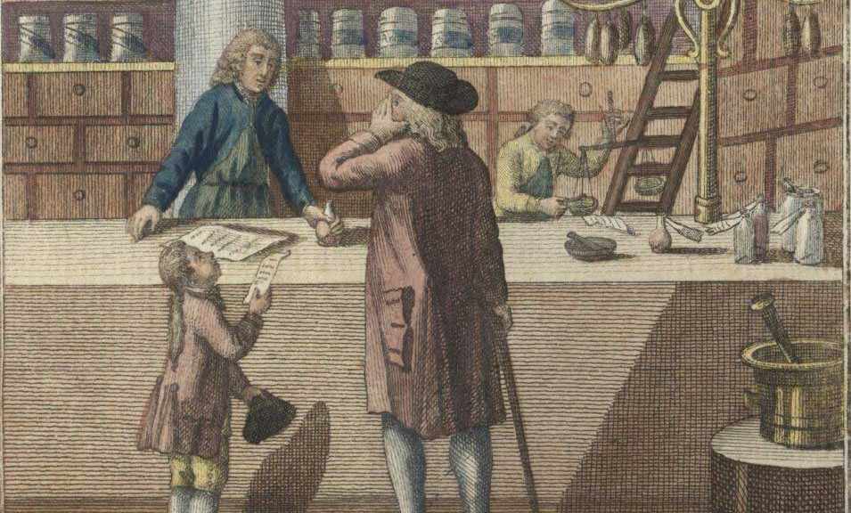 Apothecary Shop: Engraving by Clemens Kohl featuring the interior of an apothecary shop. History of Medicine Picture File, History of Medicine Collections.