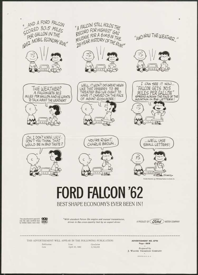 Ford Falcon '62 ad with Peanuts Characters, 1962