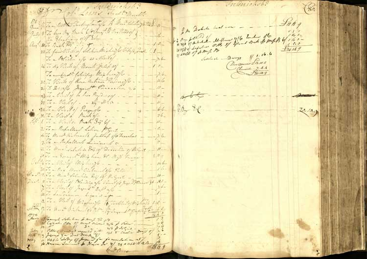 An entry in Mercer's ledger for the account of Colonel Fielding Lewis, a Fredericksburg merchant and George Washington's brother-in-law.