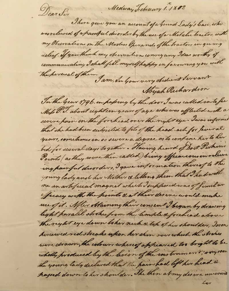 Abijah Richardson to Benjamin Waterhouse. 1 February 1802. Box 1, Folder 2, Benjamin Waterhouse papers, 1782-1841. David M. Rubenstein Rare Book & Manuscript Library, Duke University.