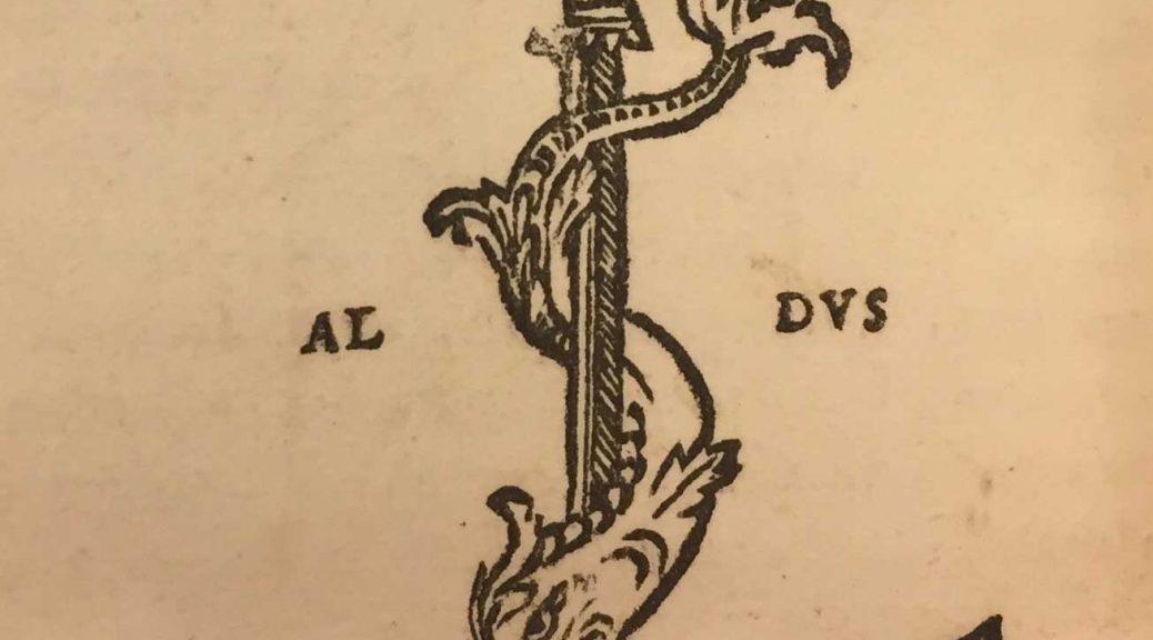 Aldine Press printer's device found in back of Lucretius's De rerum natura.
